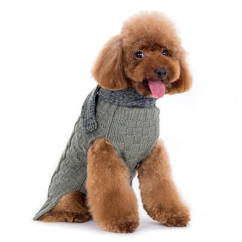 Urban Cable Knit Dog Sweater with Scarf, Pet Clothes, Furbabeez, [tag]