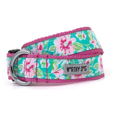 Watercolor Floral Collar & Lead Collection Collars and Leads Worthy Dog XS Dog Collar