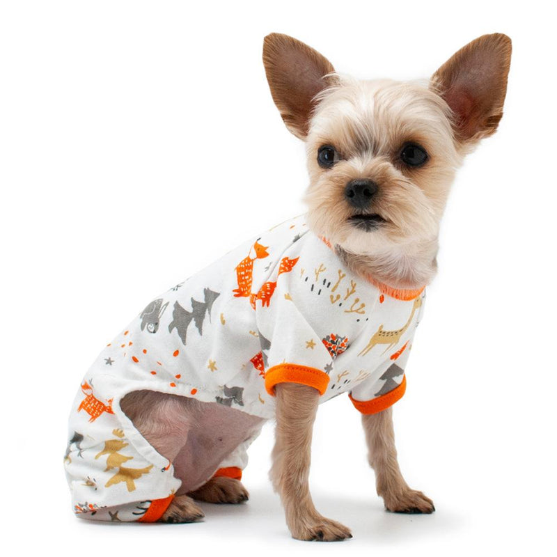 Winter Forest Dog Pajamas - Orange Pet Bed DOGO