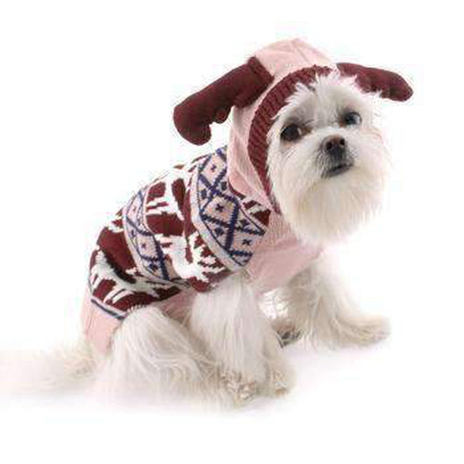 Zack and Zoey Elements Antler Dog Sweater - Pink