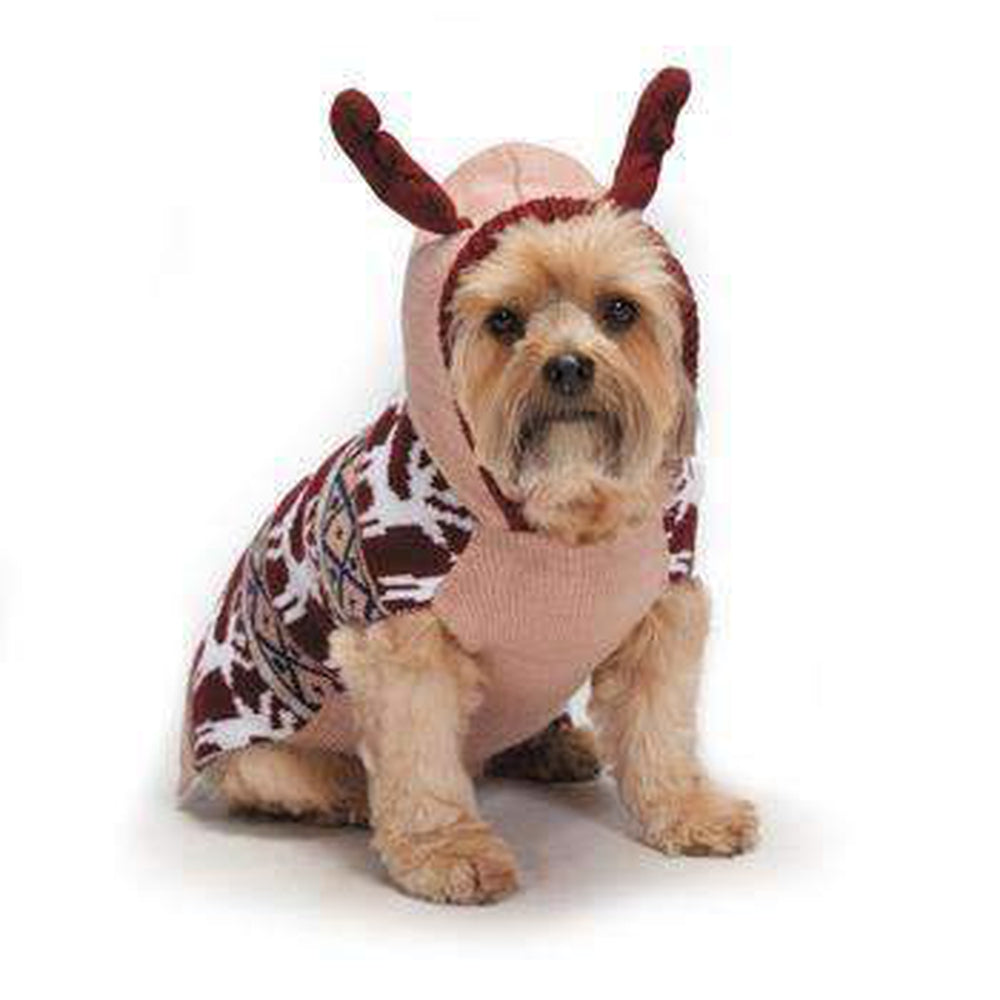 Zack and Zoey Elements Antler Dog Sweater - Pink Pet Clothes Zack and Zoey