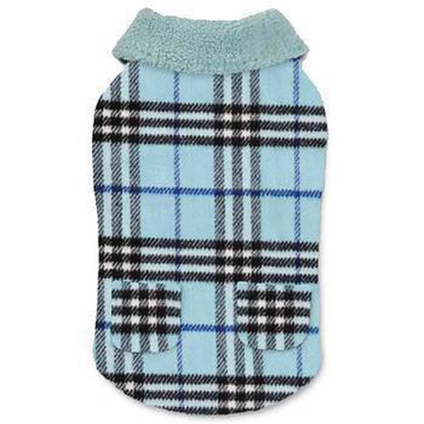 Zack and Zoey Elements Cuddle Plaid Dog Coat - Blue, Pet Clothes, Furbabeez, [tag]
