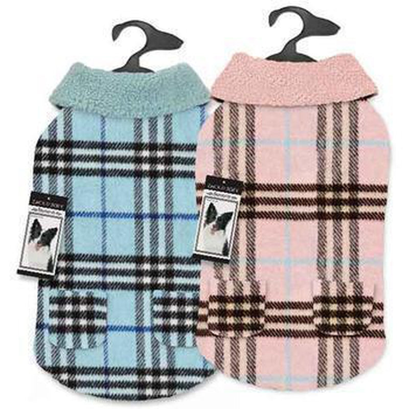 Zack and Zoey Elements Cuddle Plaid Dog Coat - Blue Pet Clothes Zack and Zoey