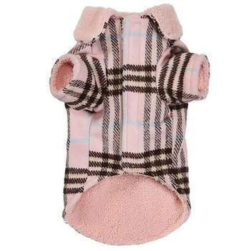 Zack and Zoey Elements Cuddle Plaid Dog Coat - Pink Pet Clothes Zack and Zoey