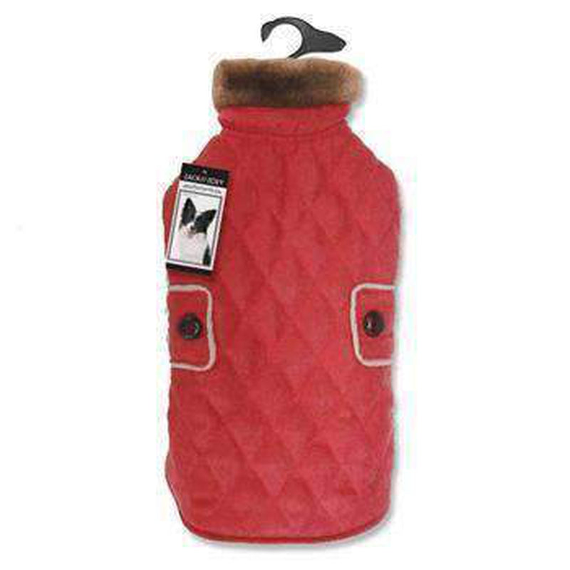 Zack and Zoey Elements Derby Quilted Dog Coat - Red, Pet Clothes, Furbabeez, [tag]