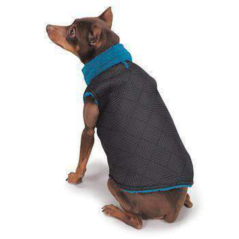 Zack and Zoey ThermaPet Quilted Dog Vest - Black with Blue, Pet Clothes, Furbabeez, [tag]