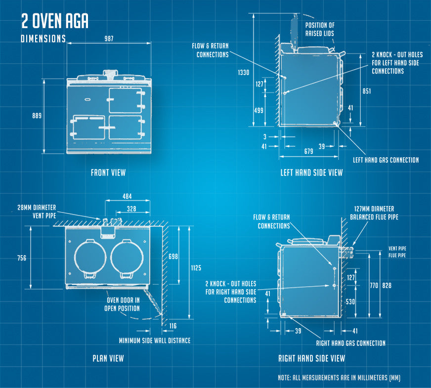 2 oven Aga cooker dimensions