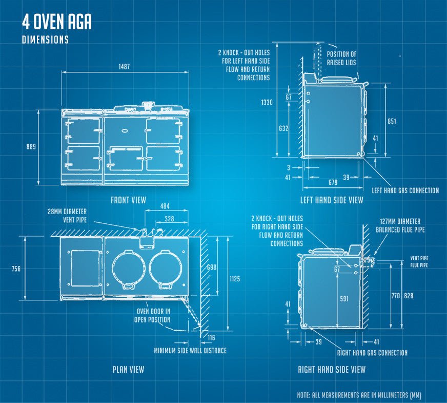 4 oven Aga cooker dimensions