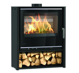 Aarrow i600 Slimline Mid, Free Standing, 4.9kw Midnight stove with Mist glass supports