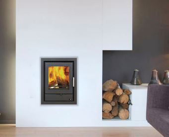 Henley Seville 400 6KW Inset Cassette Stove Matt Black Steel Finish External Air