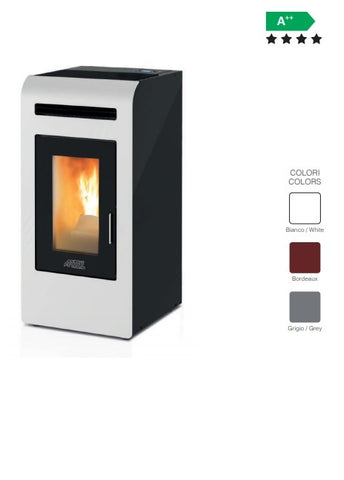 ARTEL - CLASS MODEL 14 - PELLET STOVE - 13.2KW - WHITE/RED/GREY