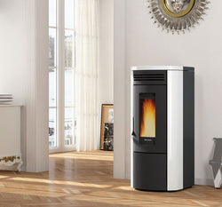 Extraflame Costanza Idro - Boiler Stove, Free Standing, 18.5 Kw, Red/White