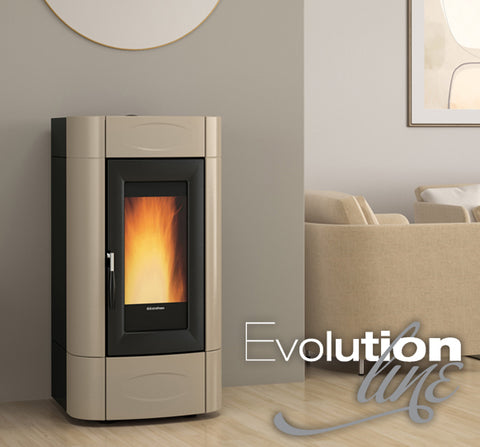 EXTRAFLAME ISIDORA IDRO H16 - BOILER PELLET STOVE, FREE STANDING, RED/WHITE/TAUPE 20.2 KW