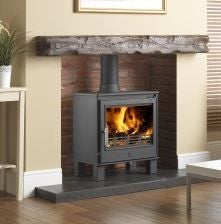 ACR Buxton - Non-Boiler Stove, Free Standing, Solid Fuel, 7 Kw, Matt, Cranberry, External Air, Log Box