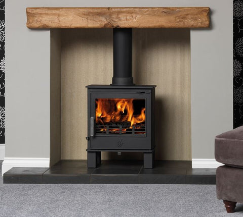 ACR Malvern - Non-Boiler Stove, Solid Fuel, 5 Kw, Matt, Buttermilk, No External Air, Log Box