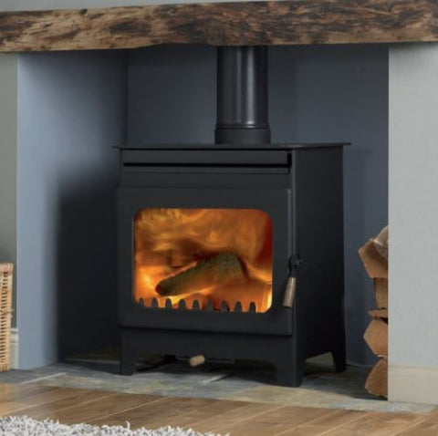 Burley Brampton - Non-Boiler Stove, Free Standing, Wood Only, 8 Kw, Black, No External Air, Log Box