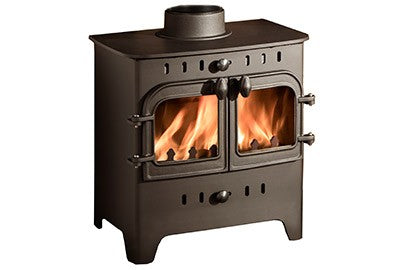 Villager C Flat Wood Duo - Non-Boiler Stove, Free Standing, Solid Fuel, 5 Kw, Matt, Black, No External Air