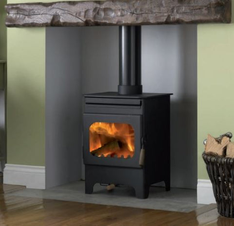 Burley Debdale - Non-Boiler Stove, Free Standing, Solid Fuel, 4 kw, Black, External Air, Log Box