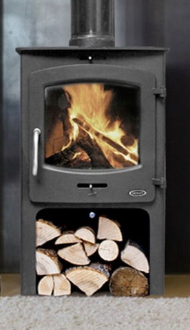 Henley Oxford 7kw with Log Box - Non-Boiler Stove, Free Standing, Solid Fuel, 7 Kw, Matt, Black, No External Air, Log Box