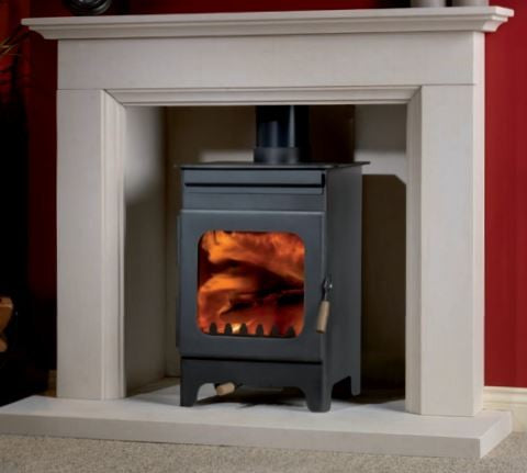 Burley Hollywell - Non-Boiler Stove, Free Standing, Wood Only, 5 Kw, Matt, Black, No External Air, Log Box