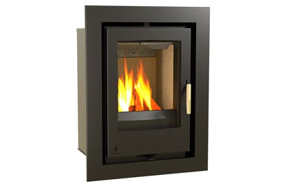 Aarrow i400 - Inset, Solid Fuel, 6 Kw, Matt, 100 mm, 4 Sided