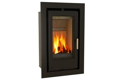 Aarrow i400T - Inset, Solid Fuel, 6 Kw, Matt, 100 mm, 3 Sided