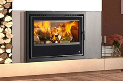 Henley Lisbon 900 Double Sided - Non-Boiler Stove, Inset, Wood Only, 14-16 Kw, Double Sided, Matt, 50 mm, 3 Sided, Black, No External Air
