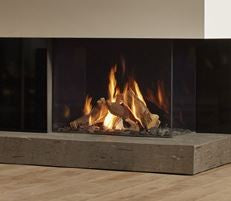 Dru Maestro 80/2 - 9 Kw, Remote Control, Natural Gas, Black Smooth, Anti-reflective Glass, Left