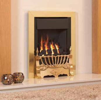Kohlangaz Marbury Plus - 4 kw, Easy Flame Control, Natural Gas, Arcadia Cast Iron Gold Fascia