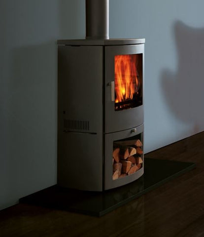 Chesney Milan 4/6kw - Non-Boiler Stove, Free Standing, Solid Fuel, 6 Kw, Matt, Black, No External Air, Log Box