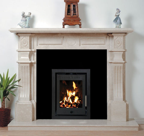 Henley Porto 400 - Non-Boiler Stove, Inset, Solid Fuel, 7 Kw, Matt, 50 mm, 4 Sided, Black, No External Air
