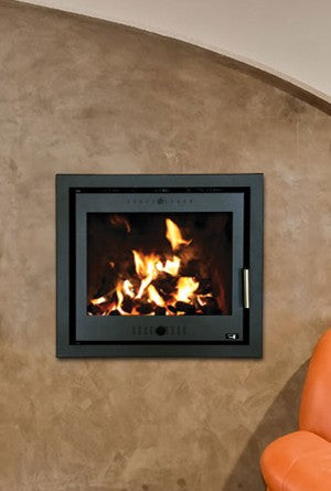 Henley Porto 600 - Non-Boiler Stove, Inset, Solid Fuel, 10 Kw, Matt, 50 mm, 4 Sided, Black, No External Air