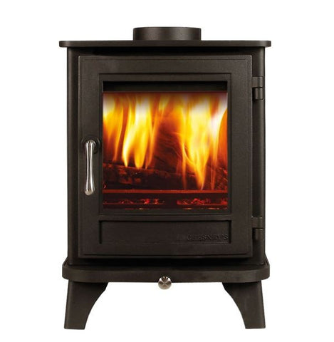 Chesney Salisbury 4 - Non-Boiler Stove, Free Standing, Solid Fuel, 4 kw, Matt, Black, No External Air, Log Box