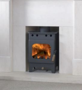 Burley Springdale - Non-Boiler Stove, Free Standing, Wood Only, 4 kw, Matt, Black, External Air, Log Box
