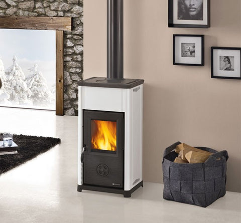 La Nordica Tea 6.5kw - Non-Boiler Stove, Free Standing, Wood Only, 6 Kw, White