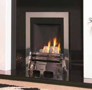Kohlangaz Thetford - 4 kw, Manual Control, Natural Gas, Embrace Cast Iron Black Nickel Fascia