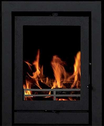 Heat Design TR5C 5kw - Non-Boiler Stove, Inset, Wood Only, 5 Kw, Matt, 30 mm, 3 Sided, Black, No External Air