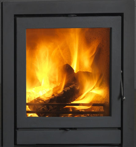Heat Design TR6.5C 6.5kw - Non-Boiler Stove, Inset, Wood Only, 7 Kw, Matt, 30 mm, 3 Sided, Black, No External Air