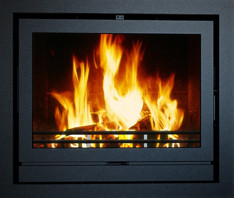 Heat Design TR8 8kw - Non-Boiler Stove, Inset, Wood Only, 8 Kw, Matt, 30 mm, 3 Sided, Black, No External Air