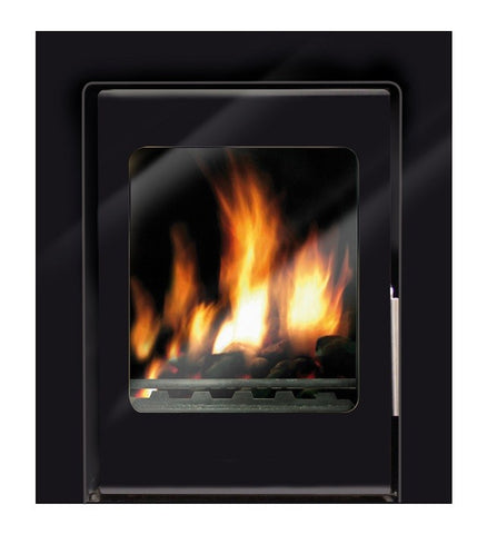 Heat Design Vitae 6kw - Non-Boiler Stove, Inset, Solid Fuel, 6 Kw, Glass Fronted, 30 mm, 4 Sided, Black, No External Air