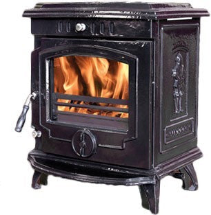 Mulberry Yeats - Boiler Stove, Free Standing, Solid Fuel, 11-13 Kw, Enamel, Black, No External Air