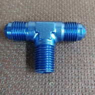 "Alloy 6 AN Male Tee with 1 4"" NPT Male Branch Fitting"