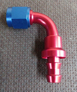 -6 AN6 90° Bend Push On / Push Lock Alloy Hose Fitting