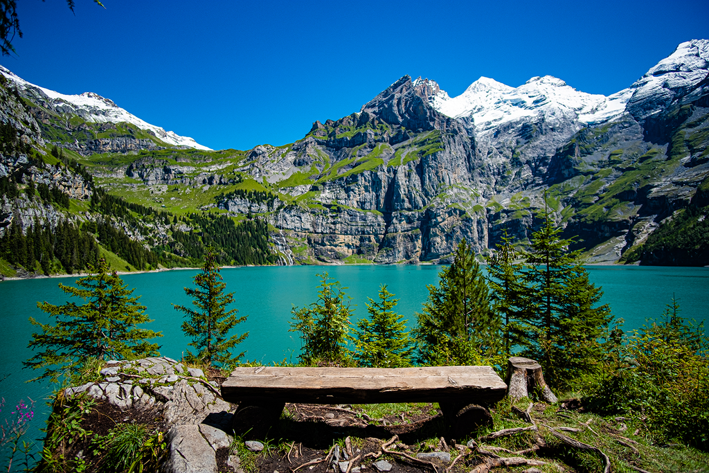 BENCH IN OESCHINENSEE poster