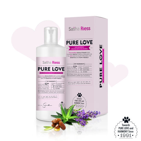 Sasha Riess Pure Love Shampoo for Dogs, Puppies & Sensitive Skin, Gentle All-Natural Deep Cleaning Formula with Jojoba Oil & Lavender