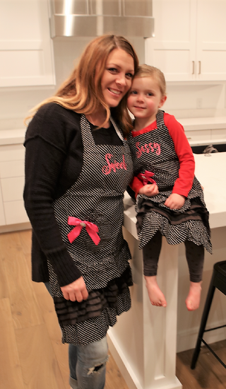 Women's & Kid's Black Polka Dot Apron Combo - Embroidered