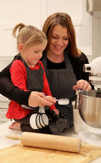 Women's & Kid's Black Polka Dot Apron Combo