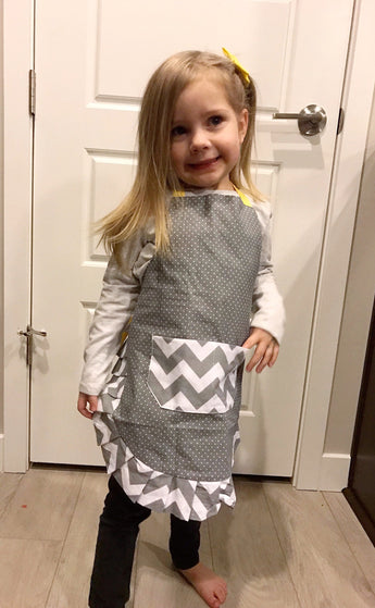 Kid's Yellow Chevron Apron