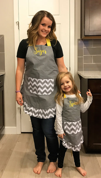 Women's & Kid's Yellow Chevron Apron Combo - Embroidered