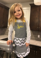 "Kid's Yellow Chevron Apron - Embroidered ""Spice"""